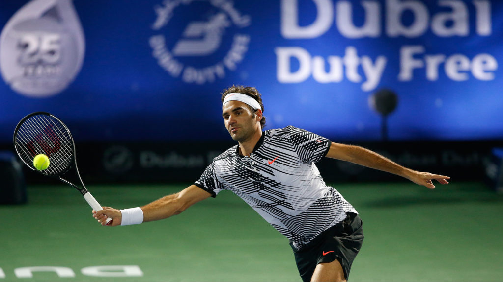 Image of Roger Federer at the 2017 Dubai Tennis event